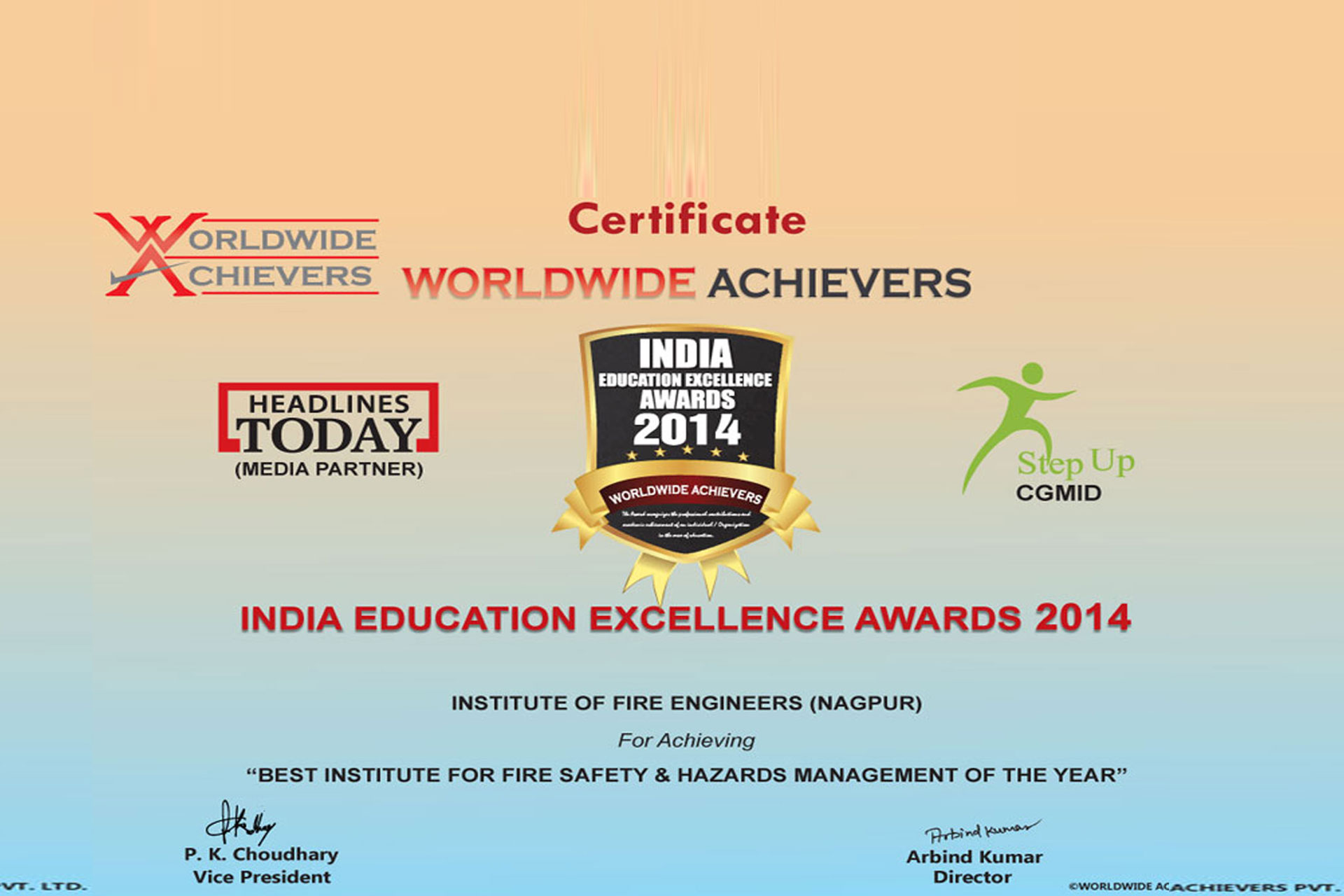 IFE Awarded INDIA EDUCATION EXCELLENCE AWARDS 2014 in New Delhi